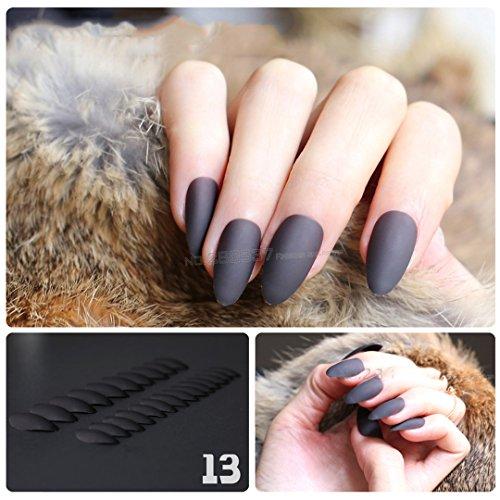 Black Brown Mountain Peak Personality Designs Matte False Nails