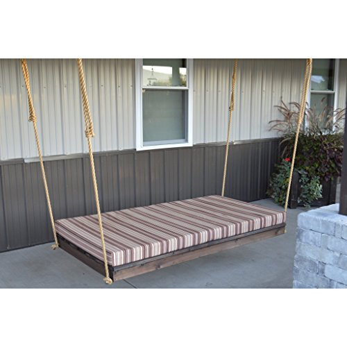 A & L FURNITURE CO. Western Red Cedar 75 in. Twin Mattress Newport Bed (Rope Included) (Swing Bed Outdoor Furniture)