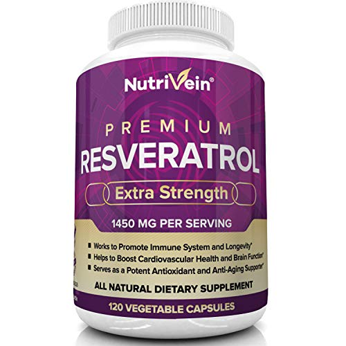 51VZYu8ky6L - Nutrivein Resveratrol 1450mg - Anti Aging Antioxidant Supplement 120 Capsules - Promotes Immune, Cardiovascular Health and Blood Sugar Support - Made with Trans-Resveratrol, Green Tea Leaf, Acai Berry