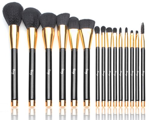 Qivange Makeup Brushes, 15 PCS Perfect Starter Kit Liquid Foundation Powder Blending Brush with Cosmetic Bag, Black With Gold