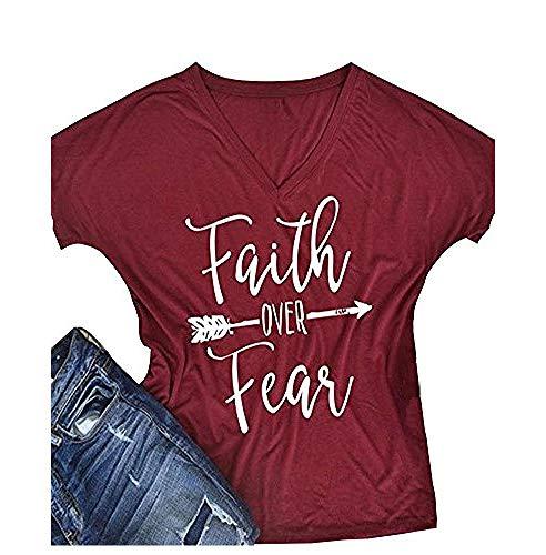 Womens T Shirt Casual Cotton Short Sleeve Letter Printed T-Shirt Tops By Gemijack (Got Faith Christian T-shirt)
