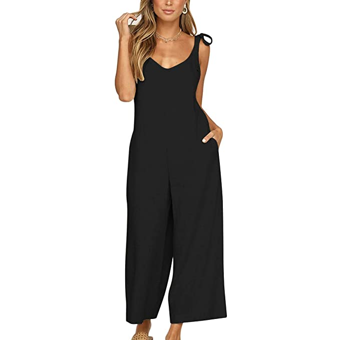 f4cb741792f2 Vertvie Women s Jumpsuit V Neck Cami Romper Sleeveless Wide Leg Long Pants  Party Playsuit (UK