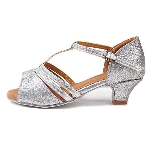 Roymall Womens Satin Latin Dance Shoes Ballroom Salsa Tango Performance Shoes Model XGG Silver