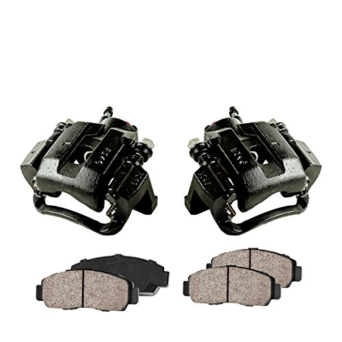 CCK02386 [2] REAR Performance Black Powder Coated Calipers + [4] Quiet Low Dust Ceramic Brake Pads