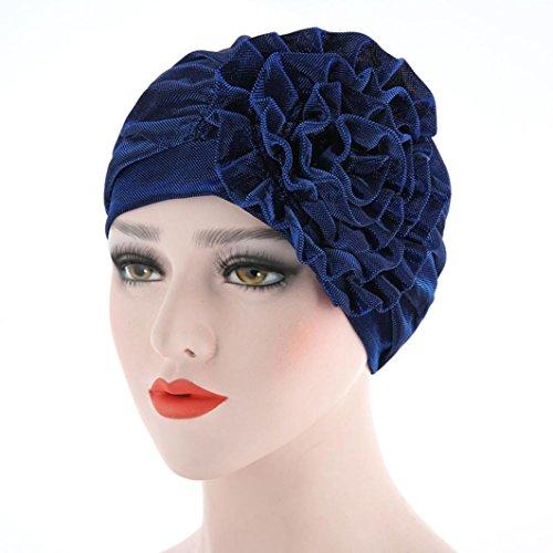 Hot Sale! Hongxin Women Beanies Female Hats Scarf Cancer Hat Bonnet Chimio Coton Turban Muslim Ruffle Flower Skullies Applique Creative Gift (Blue)
