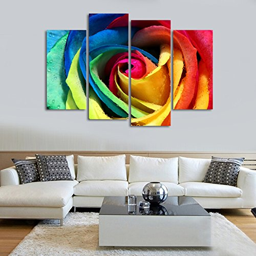 Très wonzom 4 pièces/set Fleur Rose image art mural sur toile Imprimé  GN49