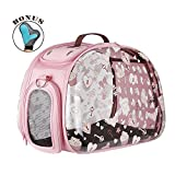 Collapsible Transparent Pet Carriers for Cats and Dogs, made from suitcase material a great alternative to pet kennel and dog carrier purse by IBIYAYA (VALENTINE)