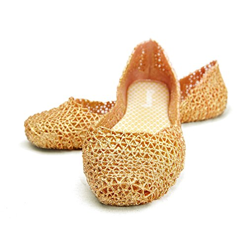 Chemistry® Y501 Womens Glittered Stylish Easy Zig Zag Weaving Woven Bird Nest Mesh Cozy Candy Slip-on Jelly Ballet Sandal Flat Gold (6 B(M) US)