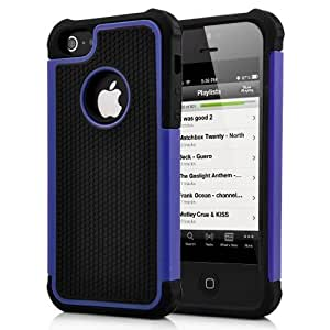 2 in 1 Protective TPU and Plastic Hard Case for iPhone 5-Black and Blue Edge