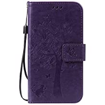 SZYT Phone Case for Motorola Moto G (2nd Generation) / Motorola Moto G (2nd Gen), Imprint Pattern Cat and Tree with Black Handle Purple
