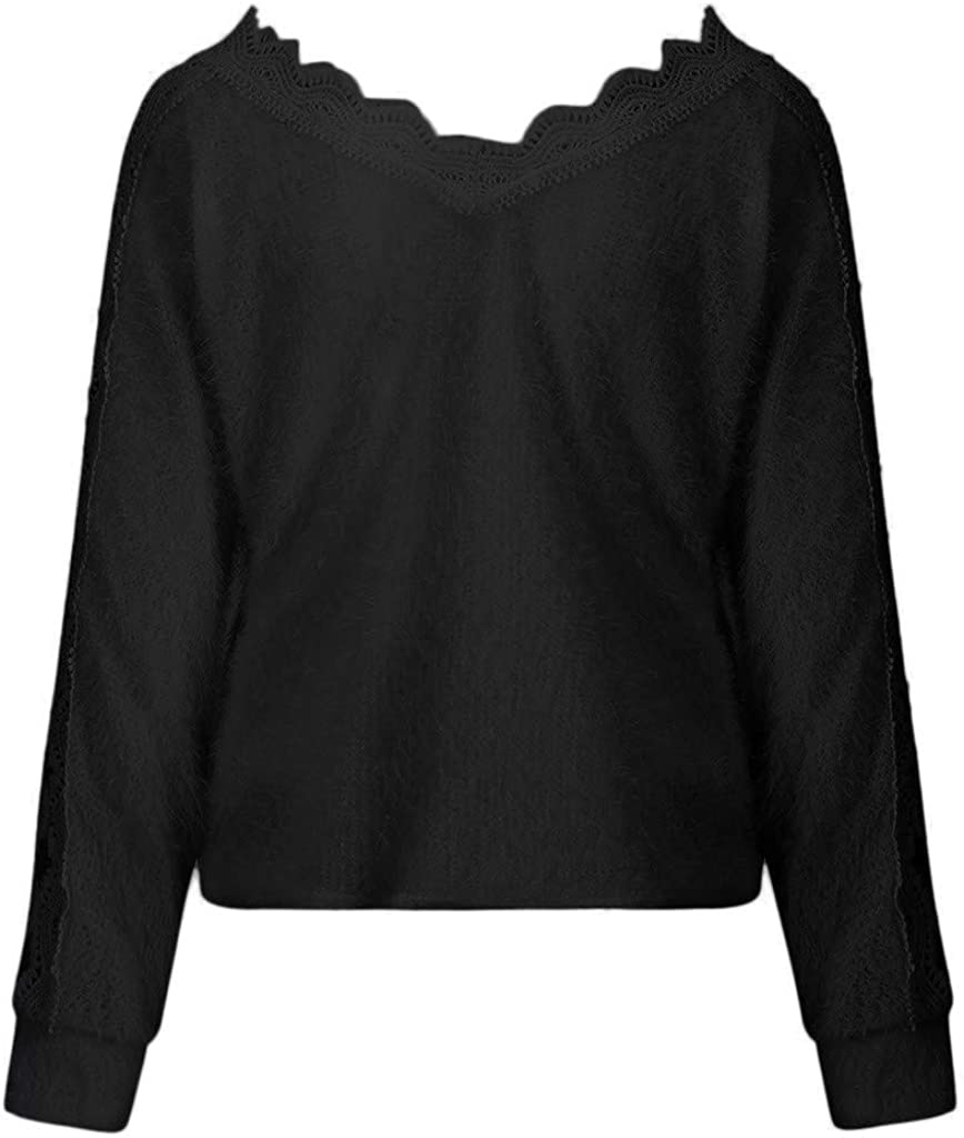 Eoeth Tops Shirts for Womens Silod Lace OffThe-Shoulder lace Long Sleeve Casual Loose Tank Tops