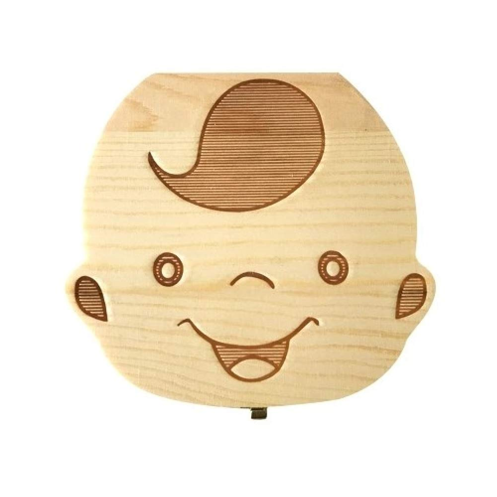 Teeth Box for Children Box for Teeth for Children Box for Teeth in Wood Box for Teeth Collection Box for Storage for Fashionable Boys English Version Wood Color