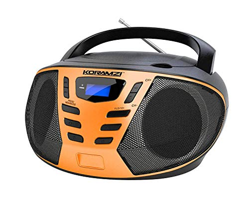 KORAMZI Portable CD Boombox with AM/FM Radio, Top Loading CD Player, Telescopic Antenna, LCD Display for Indoor & Outdoor, Offices, Home, Restaurants, Picnics, School, Camping (Black/Orange) CD55-BKO