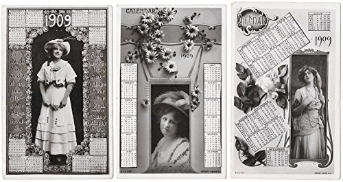 Three Real Photo Postcards of Women on 1909 Calendars~101318