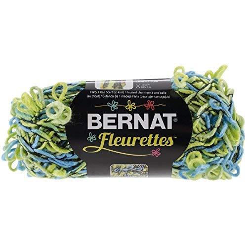 Bernat Fleurettes Yarn. Lime Rickey (Shades of Blue and Green)