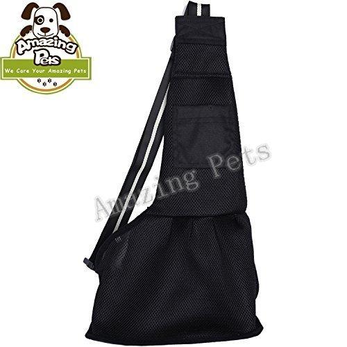 Amazing Pets Medium Black Nylon Cloth Sling Pet Dog Cat Carrier Bag For Sale