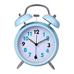 Ayzr Fashion Bell, Alarm Clock, Creative Desk Clock, Noctilucent Bed Head, Student Pointer, Metal Dormitory Clock,Blue
