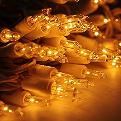 Ticoze Christmas Lights 100 Clear Light Bulbs Mini String Lights Set Warm White Indoor Outdoor Lighting for Christmas Tree Wedding Bedroom Backyard Party Decoration White Wire