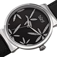 Burgi Women's BUR191 Sparkling Flower Accented Leather Strap Watch (Midnight Black)