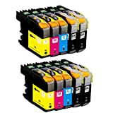 O'Image 10-Pack LC201 LC203 LC203XL Ink Cartridge Replacing for Brother MFC-J460DW J480DW J485DW J680DW J880DW J885DW J4320DW J4420DW J4620DW J460DW J5520DW J5620W J5720DW Series Printer (10-Pack: 2K.2C.2M.2Y)