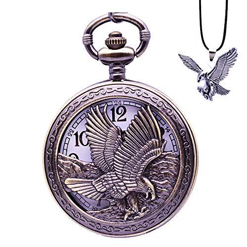 (Udaney Eagle Pocket Watch with Chain Vintage Quartz Arabic Numerals Half Hunter 2019 Fashion)