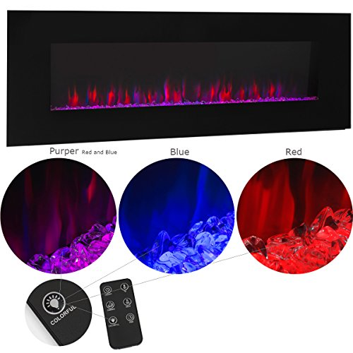 - XtremepowerUS Allure Linear Wall Mount Smokeless Electric Fireplace 50-inch Wide w/ 3 Changeable Flame Color Timer Remote