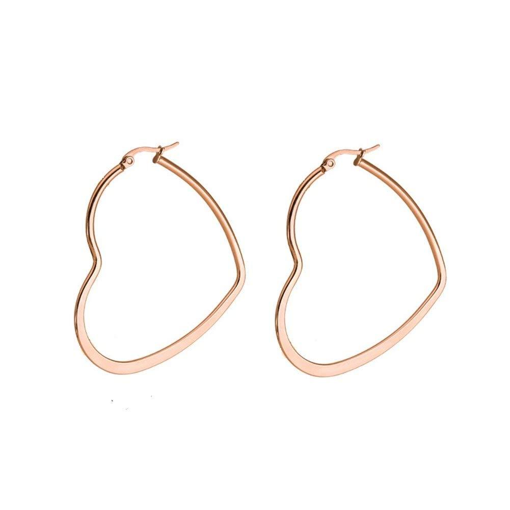 Changgaijewelry Fashion Heart Shaped Hoop Earrings for Women Girls Stainless Steel Love Large Dainty Huggie Hoops