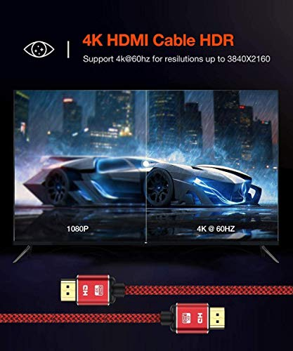 [2 Pack] 4K HDMI Cable 15Feet Capshi High Speed 18Gbps HDMI 2.0 Cable,4K HDR,three-D,2160P,1080P,Ethernet-Nylon Braided HDMI Cord Compatible UHD TV,Blu-ray,PS5/4,PC,Projector