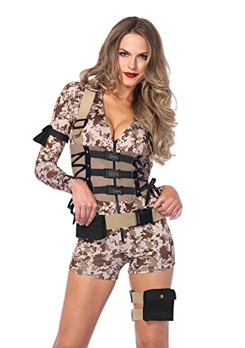 Women's Marines Halloween Costumes (Leg Avenue Women's Battlefield Babe Costume, Camo, Small)