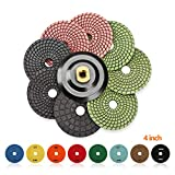 SPTA 8pcs Diamond Wet Polishing Pads Set For Granite Stone Concrete Marble Floor Grinder or Polisher, 50#-3000# with Hook & Loop Backing Holder Disc (4 inch)