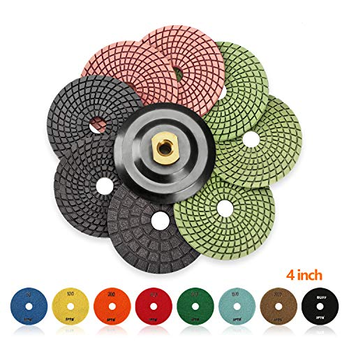 SPTA 8pcs Diamond Wet Polishing Pads Set For Granite Stone Concrete Marble Floor Grinder or Polisher, 50#-3000# with Hook & Loop Backing Holder Disc (4 inch) by SPTA (Image #9)