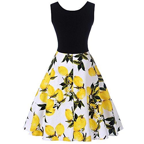 Women Dresses Godathe Summer Women Vintage Lemon Print Sleeveless Casual Party Ball Swing Dress S-XXL -