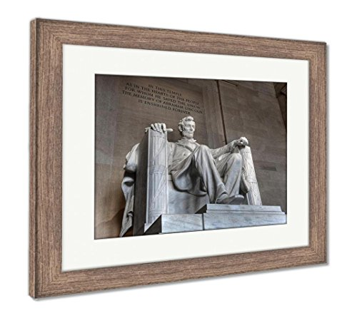 Ashley Framed Prints Abraham Lincoln Memorial, Wall Art Home Decoration, Color, 30x35 (frame size), Rustic Barn Wood Frame, (Lincoln Memorial Framed Photograph)