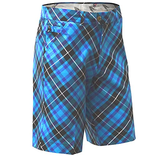 Royal & Awesome Men's Golf Shorts, Blue Plaid Trews, 34
