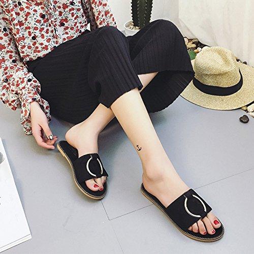 La Primavera E L'Estate Del Camoscio Pantofole Con Un Metallo Della Parola Piana Sandali Dichotomanthes Fine.,Black,Eu38,Cn39