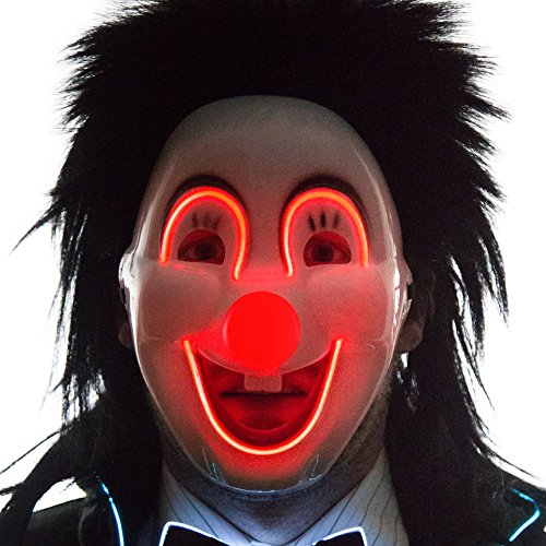 Neon Nightlife Men's Light Up Sarcatic Clown Happy Face Mask, Red
