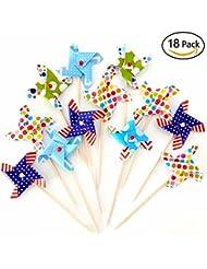 Pinwheel Cupcake Picks Cake Toppers,Pack of 18