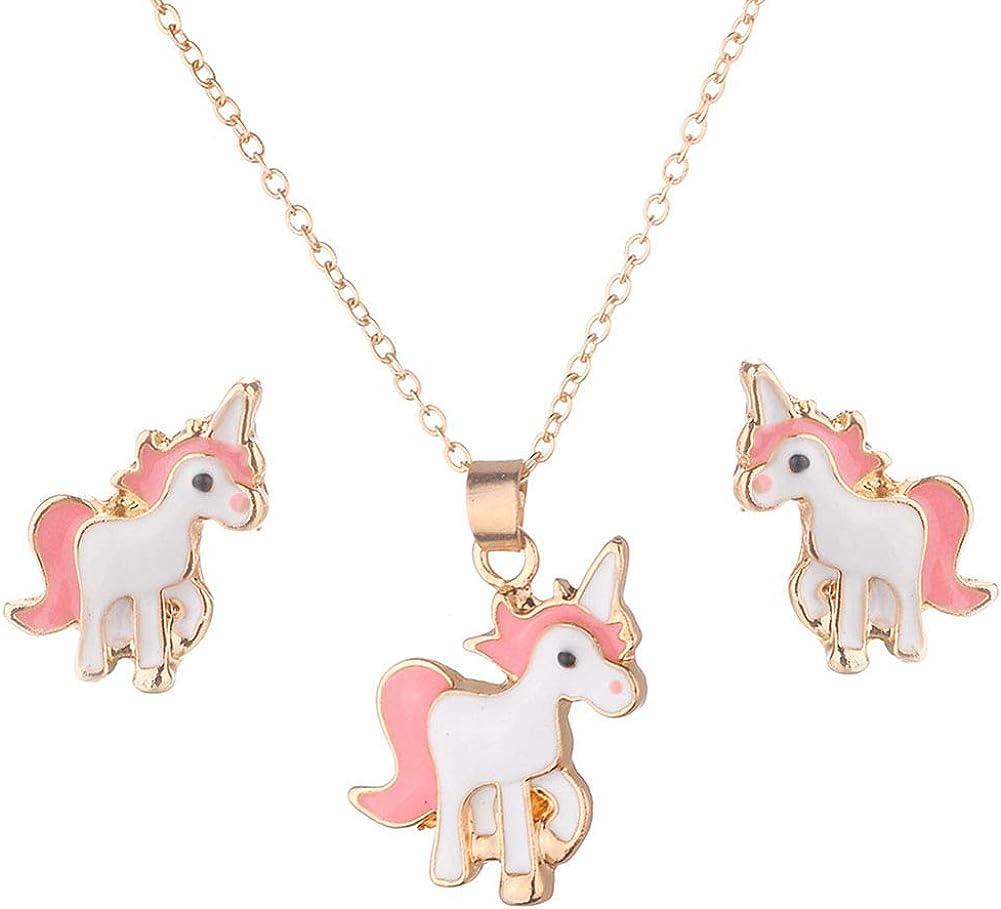 Beuya Unicornio Conjuntos de Joyas de Boda para Mujer, Fashion Collar con Colgante y Pendientes Mejor Regalo Fiesta para Novia y Mujer