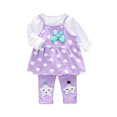 3PCS Bebé niña punto chaleco correa+manga larga camiseta tops+ ...