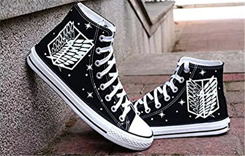 Bromeo Attack on Titan Unisexe Toile Salut-Top Sneaker Baskets Mode Chaussures Lumineux