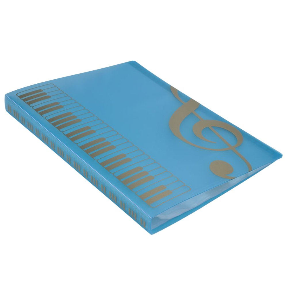Music Sheet File Paper Documents Storage Folder 40 Pockets Holder (Blue)