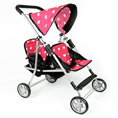 The New York Doll Collection My First Dolls Twin Stroller Cutest Heart Design Pink Color Great Toy Gift for Girls Fit for 18 Inch