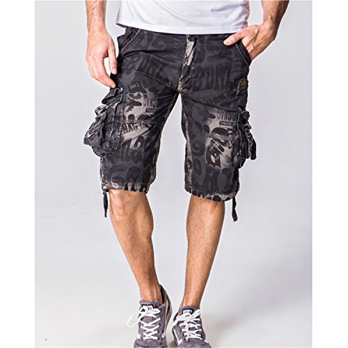 Henraly Summer Camouflage Military Cargo Shorts Bermuda Masculina Jeans Male Fashion Casual Baggy Denim Shorts Gray 32
