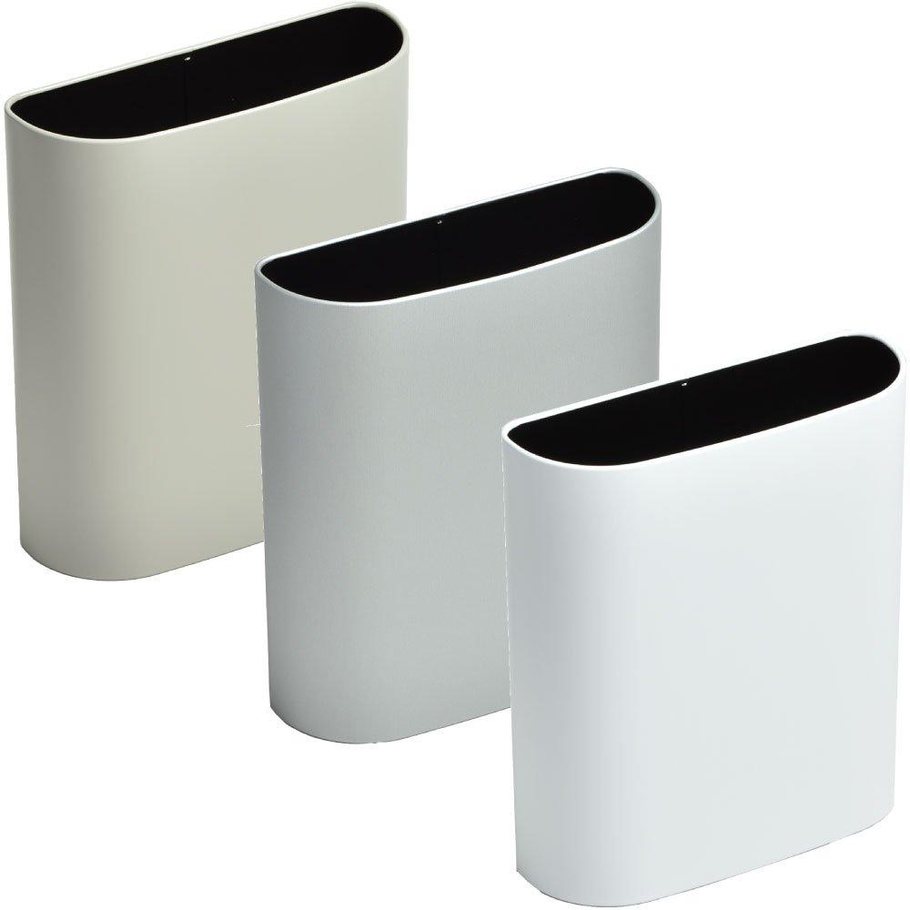 ぶんぶく マグネットバケット 全9色の中から選べる3個セット ゴミ箱 ごみ箱 ダストボックス おしゃれ 日本製 (グレー×シルバーメタリック×マットホワイト) B075K5QW1W グレー×シルバーメタリック×マットホワイト グレー×シルバーメタリック×マットホワイト