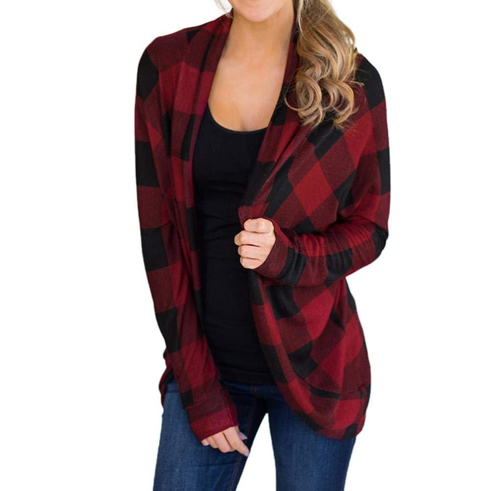 Pandaie Jacket,Womens Long Jackets Autumn Irregular Lattice Print Ladies Coat Outwear Cardigan