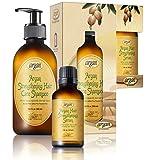 Argan Hair Strengthening Shampoo & Serum Kit - Premium Set to Promote Healthy, Full & Shiny Hair - Moroccan Sulfate Free Shampoo 10.1 oz and Argan Serum 1.0 oz