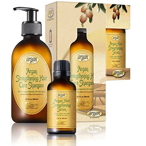 Argan Hair Strengthening Shampoo & Serum Kit - Premium Set to Promote Healthy, Full & Shiny Hair - Moroccan Sulfate Free Shampoo 10.1 oz and Argan Serum 1.0 oz (Moroccan Oil Kits For Hair)