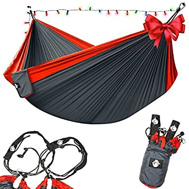 Legit Camping Double Hammock with Nylon Straps and Steel Carabiners - Red / Grey