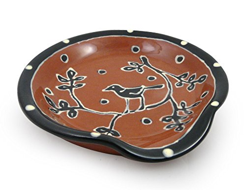 American Made Terracotta Pottery Kitchen Spoon Rest, Blackbird Motif