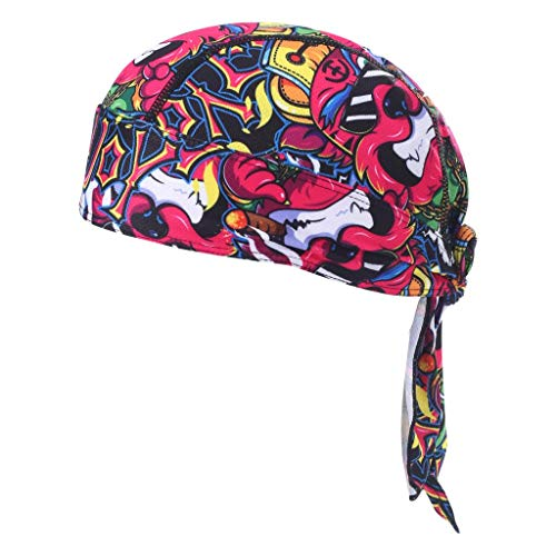 HEROBIKER Sweat Wicking Skull Cap Beanie Bandana Helmet Liner Outdoor Running Adjustable Red